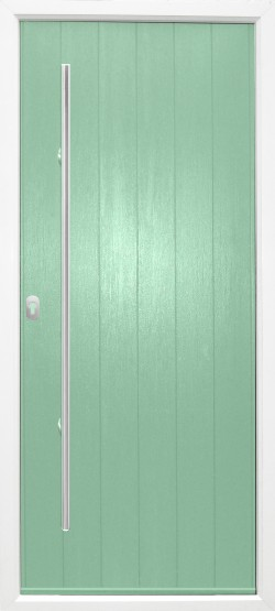 Ancona Solid composite door shown in Chartwell Green with door handle and key only security locking option.