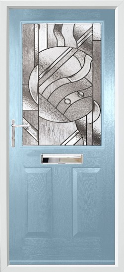 Beeston 1 composite door in Duck Egg Blue with Abstract glass.