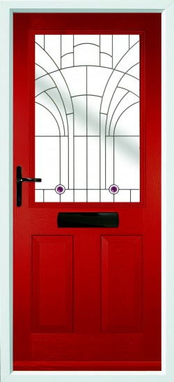 Beeston 1 composite door in Red with Jewel glass.