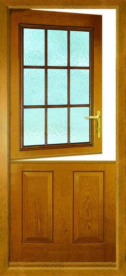 Beeston stable composite door in Golden Oak with obscure glass.