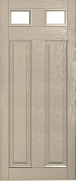 The Berkeley composite door in Cream with glazed inset panels.