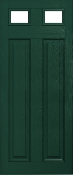 The Berkeley composite door in Green with glazed panels.