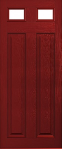 The Berkeley composite door in Red with glazed inset panels.