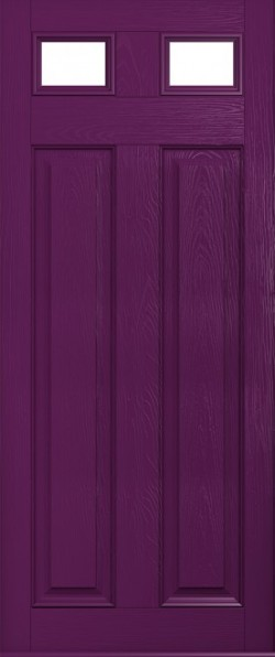 The Berkeley composite door in Rich Aubergine with glazed panels.