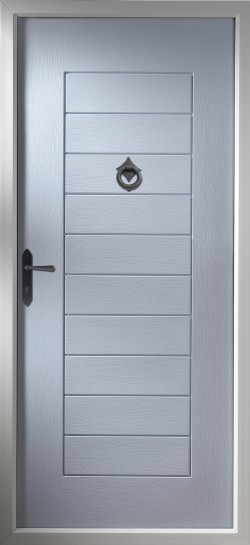 Windsor composite door in Duck Egg Blue.
