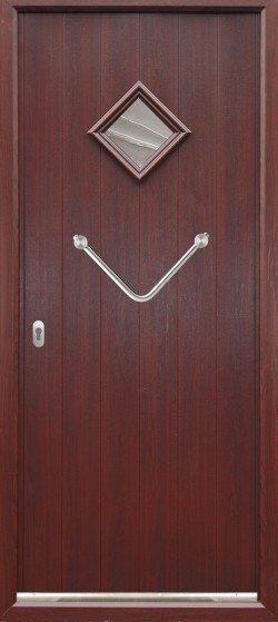 Bologna composite door shown in Rosewood with Rosewood frame, ES 24 door handle and key only security locking option.