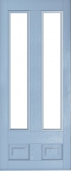 The Edinburgh composite door in Duck Egg Blue with glazed panels.