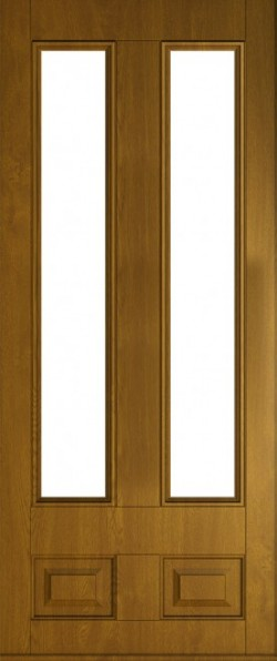 The Edinburgh composite door in Golden Oak with glazed panels.