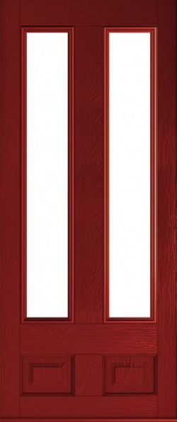 The Edinburgh composite door in Red with glazed panels.