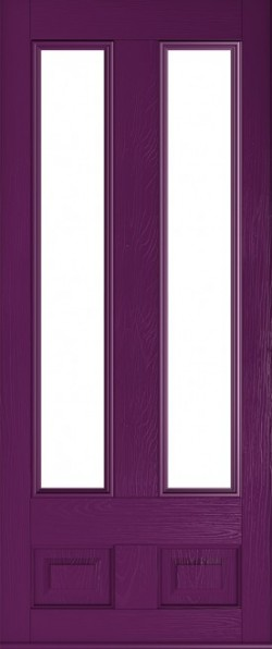 The Edinburgh composite door in Rich Aubergine with glazed panels.