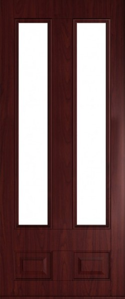 The Edinburgh composite door in Rosewood with glazed panels.