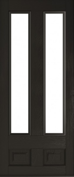 The Edinburgh composite door in Schwarz Braun with glazed panels.
