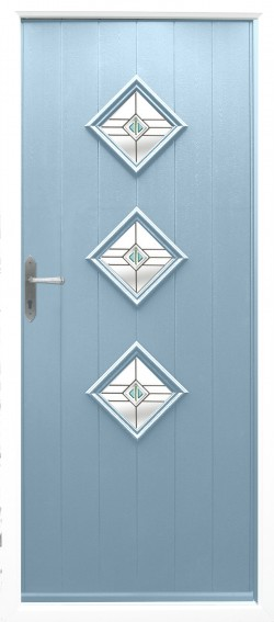 Flint 3 composite door in Duck Egg Blue with Trio Square Sea Green glass.