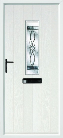 Flint 4 composite door in White with Royale glass.
