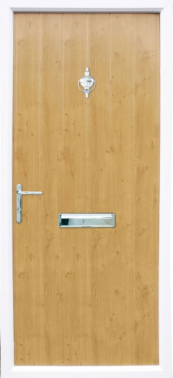 Flint Solid composite door in Irish Oak.