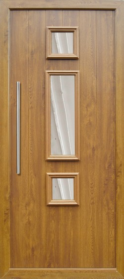 Genoa composite door shown in Golden Oak with matching frame, chrome finish handle and multi point locking system.