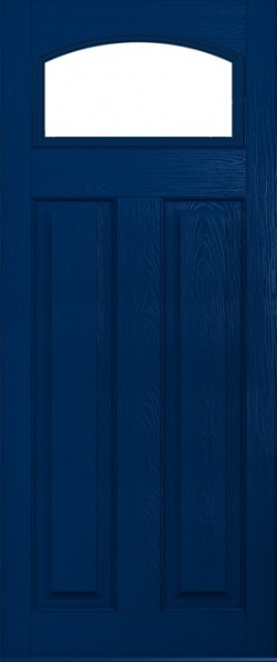 The London composite door in Blue with glazed panel.