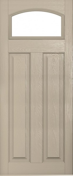 The London composite door in Cream with glazed panel.