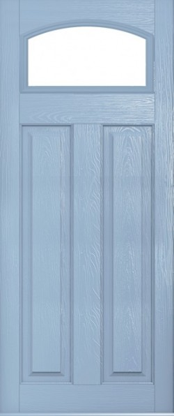 The London composite door in Duck Egg Blue with glazed panel.