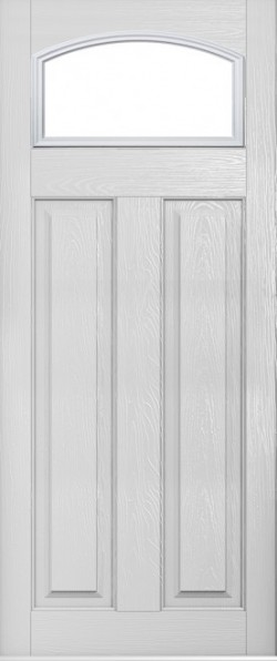 The London composite door in Foiled White with glazed panel.