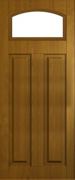 The London composite door in Golden Oak with glazed panel.