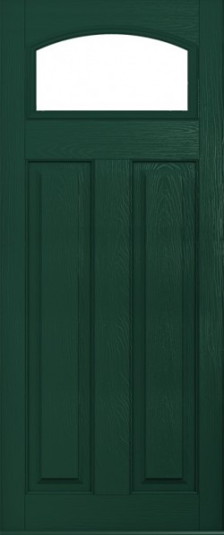 The London composite door in Green with glazed panel.