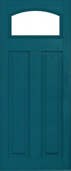 The London composite door in Peacock Blue with glazed panel.