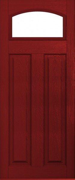 The London composite door in Red with glazed panel.
