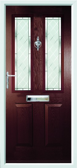 Ludlow 2 composite door in Rosewood with Brilliante glass.