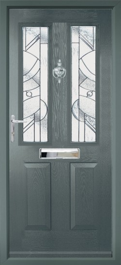 Ludlow 2 composite door in Anthracite Grey with Abstract glass.