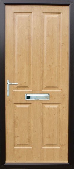 Ludlow Solid composite door in Irish Oak.