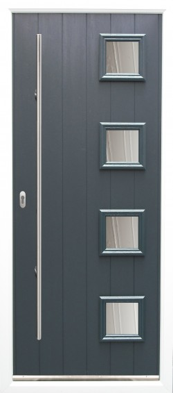 Milano composite door shown in Anthracite Grey and Grey Frame with ES 3 door handle and key only locking option.