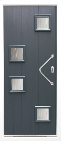 Modena stylish composite door shown in Anthracite Grey with ES 24 door handle and key only security locking option.