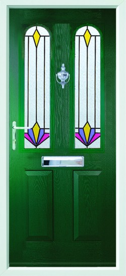 Nottingham 2 composite door in Green with CTL3.2 glass.