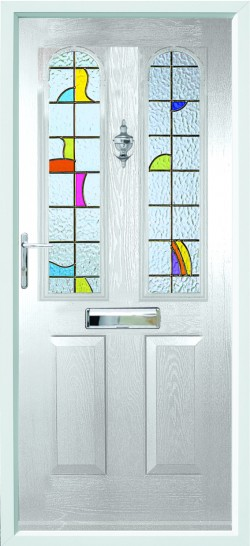 Nottingham composite door in White with CTL 20 glass.