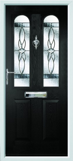 Nottingham composite door in Black with Royale glass.