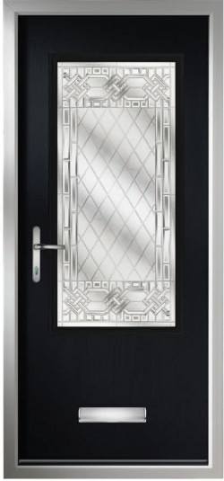 Perugia composite door in Black with Infinity glass, chrome finish handle and multi point locking.