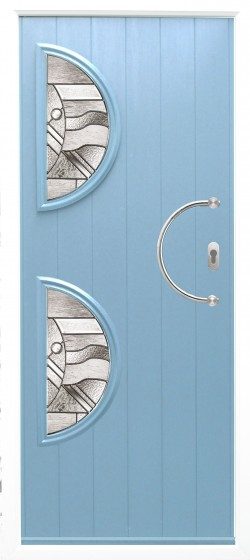 Siena composite door shown in Duck Egg Blue with ES 23 door handle, abstract glass and key only security locking option.