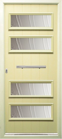 Sorrento composite door shown in Cream with ES 3 450mm door handle and key only security locking option.