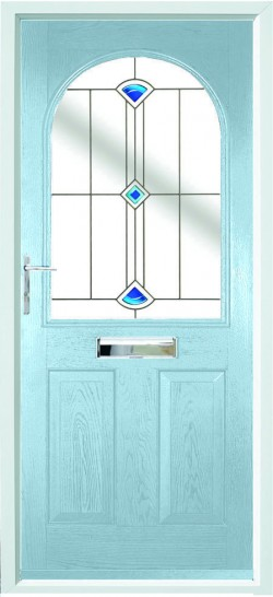 Stafford composite door in Duck Egg Blue with Blue Quad glass.