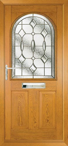 Stafford 1 composite door in Golden Oak with Clarity glass.