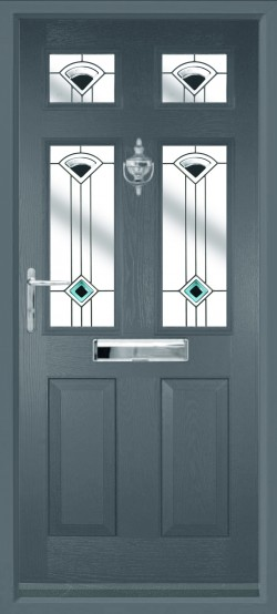 Tenby 4 composite door in Anthracite Grey with Quad Black glass.