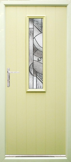 Turin composite door shown in Cream with abstract glass, Chrome finish handle and multi point locking system.