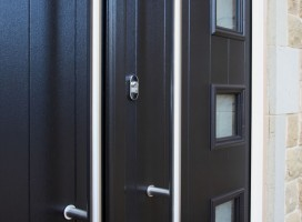 Close up of Milano French composite doors in black
