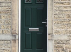Tenby 2 composite door with top light incorporated in same frame in green with CTL 17.4 glass.