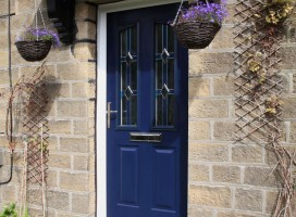 Harlech 2 composite door in blue with CTB 8.2 glass.