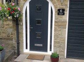 6ef542eec02a2 Bespoke composite door with integrated side lights in Anthracite Grey  exterior installed in Holmfirth.