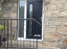 Brescia composite door from the Italia Collection in black with side light installed in Fixby, Huddersfield