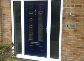 Edinburgh Composite door in Blue with integrated side panels and CFT22 glass, Golcar
