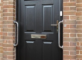 Conway 1 composite door in Grey with bespoke design glass